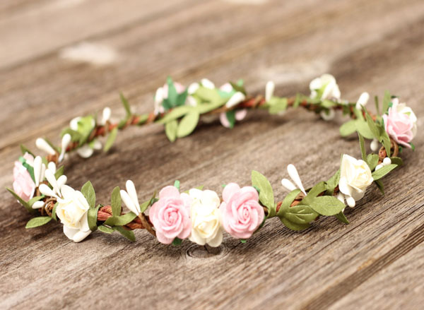 Blush Hair Crown Ivory Flower Crown Green Hair Garland Boho Halo